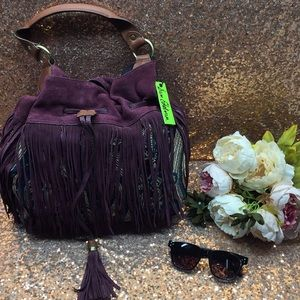 Sam Edelman Purple/Multi Colored Fringe Handbag